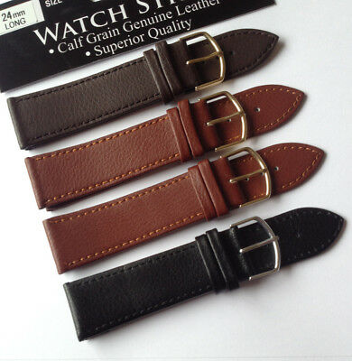 Black Brown Mens Ladies HIGH QUALITY Leather Watch Strap Band Size 8-24mm STRONG