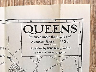 QUEENS NY c1940s Street Map with INDEX + Subway Lines Bus Lines Railroads