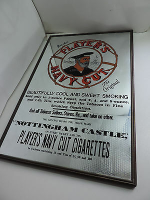 "Vintage Player's Navy Cut Cigarettes Mirror Tobacco Smoke 12 x 18"" Thin Frame"