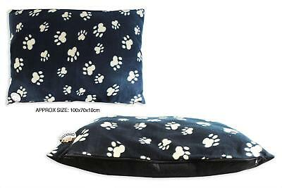 Paw Print Pet Dog Cat Fleece Cushion Bed 100Cm X 70Cm X 10Cm