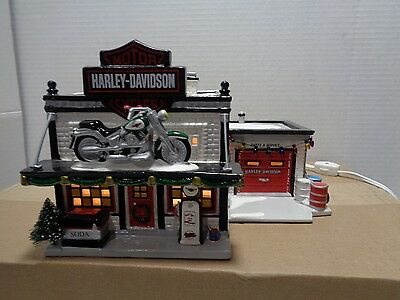 Dept 56 Harley Davidson Motorcycle Shop Snow Village #54886