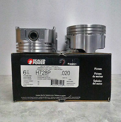 SEALED POWER GM 4.3 L V- 6 Hypereutectic Dish Top Pistons – H728P .020