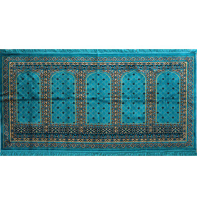 Islamic Family Wide 5 Person Masjid Prayer Rug Kaba Mosque Turquoise