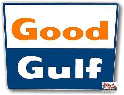 "(GULF-6) 12"" GOOD GULF GASOLINE SIGN decal lubster gas pump oil man cave"