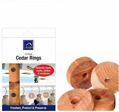 Knight 12 pk Moth Larvae Repeller Killer Hanger Cedar Wood Rings 100% Natural Uk