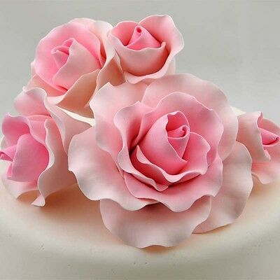 5 Pink Roses Sugar flower wedding birthday cake decoration topper craft