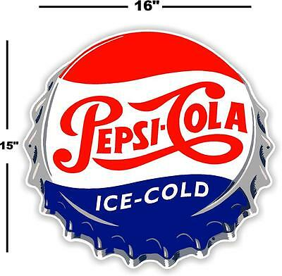 "(Pc-221) 16""  Pepsi Cap  Ice Cold Soda Pop Vending Machine Cooler Or Gumball"