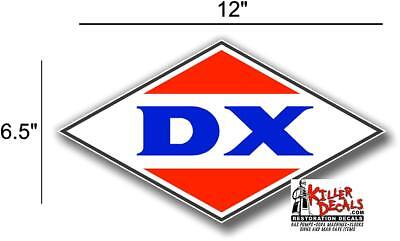 "(Dx-2) 12"" 1950-90 Dx Gasoline Vinyl Decal Oil Can / Gas Pump / Lubster"