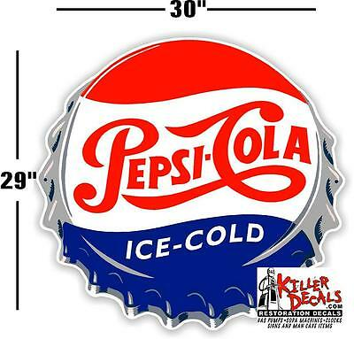 "(Pc-221) 30"" Pepsi Cap Ice Cold Soda Pop Vending Machine Cooler Or Gumball"