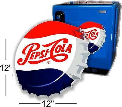"(Pc-220) 12""  Angled Pepsi Cap For Soda Pop Vending Machine Cooler Or Gumball"
