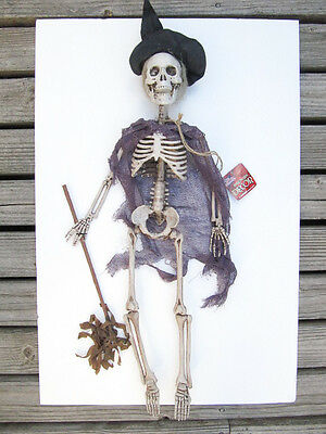 """NEW The Gothic Collection Halloween Hanging 26"""" Witch Broom Skeleton"""