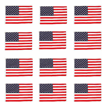 Wholesale lot (12) 3' x 5' ft. USA US American Flag Stars Grommets United States