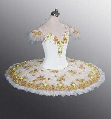 Professional White Gold Ballet Tutu Paquita YAGP In Stock! Bust 28-31.5 Inches