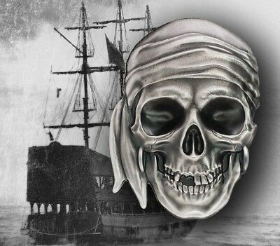 2017 Palau $5 1oz  999 Silver - PIRATE SKULL - Ultra HighRelief -with Box & COA