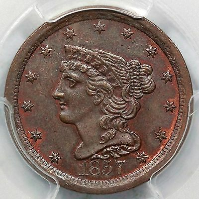 1857 C-1 PCGS MS 64 BN Braided Hair Half Cent Coin 1/2c