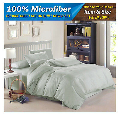 NEW CHARCOAL QUEEN KING Size MICROFIBER SOFT BED SHEET QUILT DOONA COVER SET