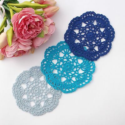 Crochet doilies light blue , blue , dark blue  14-15cm for millinery and crafts