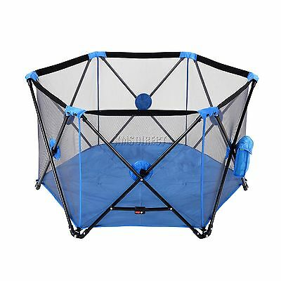 FoxHunter Portable Baby Pop Up Playpen Play Pen Yard With Fitted Playmat Blue