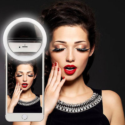 Portable Selfie LED Ring Flash Light Clip Camera for Phone iPhone Samsung HTC