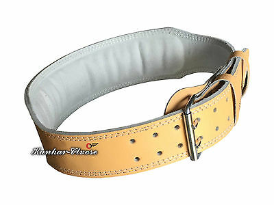 """Brown Gym Weight Lifting Belt 4"""" Leather Back Support Power Training Belt"""