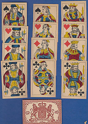 Q DS.  Leonard Bierman Playing Card Sample Set of 12 Court Cards & Wrapper 1880