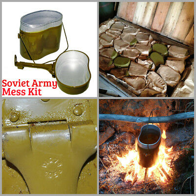 Soviet Army Mess Kit USSR Soldier Kettle Pot Military Cooking Camping Aluminium