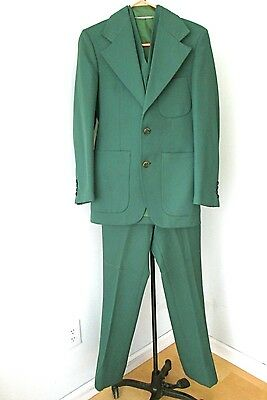 Vtg 70s Green Poly Knit 3-Pc Disco Pimp Superfly Suit Flare Pants Vest 36 Slim