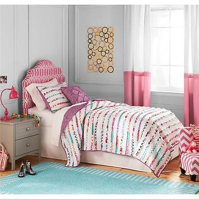 Girls Teen Purple White Multi Textured Ruched Ruffled Feminine Quilt Set Bedding