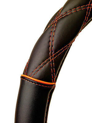 Sumex Soft Leather Car Steering Wheel Cover - Black with Orange Cross Stitching