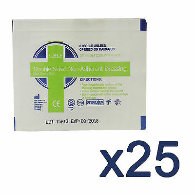 25x CMS Medical First Aid Low Adherent Double Sided 5x5cm Wound Dressing Pads