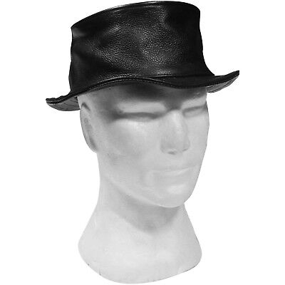 Leather Black Pork Pie Hat 2XL