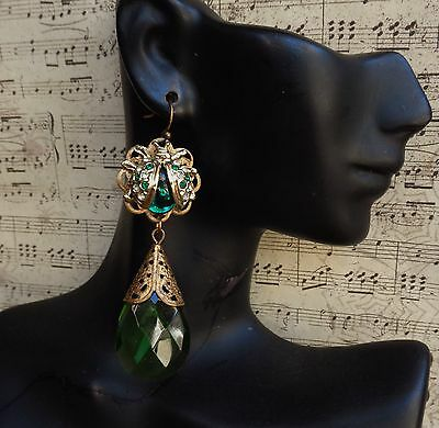 Vintage Earrings Green Rhinestone Ladybugs W/ Huge Green Crystal Drops