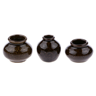 1/12 Dollhouse Ceramic Miniatures Home Decor Accs Porcelain Vase Set of 3pcs