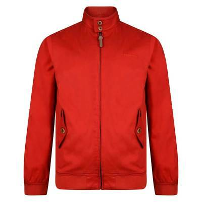Lambretta Mens Coral / Red Harrington Bomber MOD SKA Scooter Jacket Coat