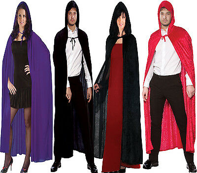 Adult Velvet Hooded  Superhero Fancy Dress Halloween Costume Cape Copsplay Cloak