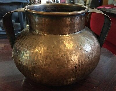 Fabulous Old Portugese Beaten Copper Twin Handled Planter