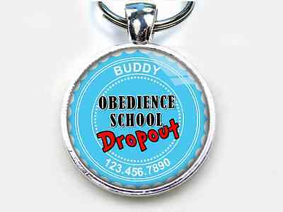 Obedience School Dropout babyblue CUSTOM funny humor 11 colors pet dog cat tags