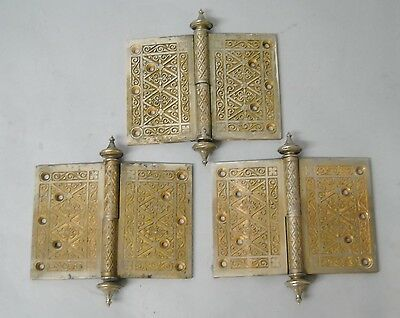 Set Of 3 Antique Victorian Brass Bronze Door Hinges With Steeple Tip