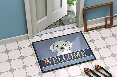 Carolines Treasures  BB1394MAT Maltese Welcome Indoor or Outdoor Mat 18x27