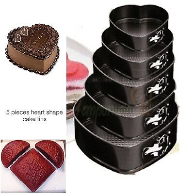 Heart Cake Tins 5 Sizes Tiers Moulds Baking Non Stick Spring Form Parties Party