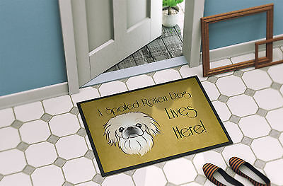 Pekingese Spoiled Dog Lives Here Indoor or Outdoor Mat 18x27