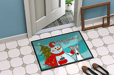Snowman with Italian Greyhound Indoor or Outdoor Mat 18x27