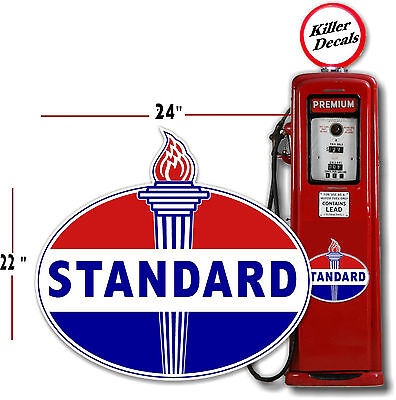 """(Stan-2) 24"""" Old Standard Torch Gas Pump Oil Tank Decal Gasoline Lubster"""