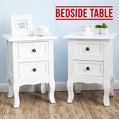 PAIR of White Shabby Chick Bedside Tables Unit Stand Cabinets with 2 Drawers