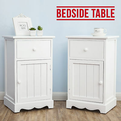Pair of White Bedside Tables Storage Cabinet Cupboard W/ Drawers & Groove Doors
