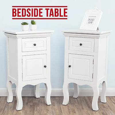 PAIR of French Retro White Bedside Unit Table Cabinet Chest of Drawer W/ Door