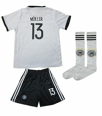 Germany MULLER #13 Home White Kids Soccer Jersey & Shorts Youth Sizes