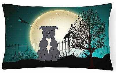 Halloween Scary Staffordshire Bull Terrier Blue Canvas Fabric Decorative Pillow
