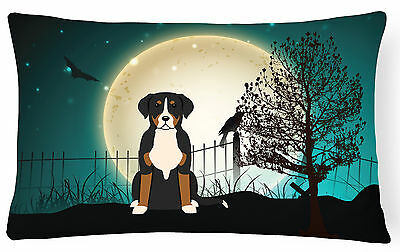 Halloween Scary Greater Swiss Mountain Dog Canvas Fabric Decorative Pillow