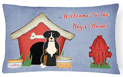 Dog House Collection Greater Swiss Mountain Dog Canvas Fabric Decorative Pillow
